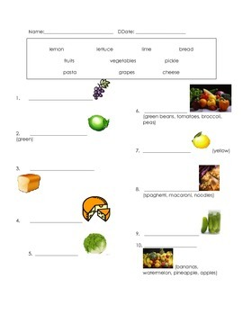 ell spelling picture vocabulary foods 2 test