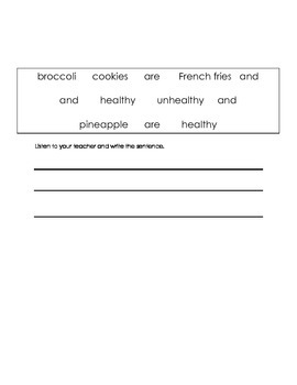 ell spelling picture vocabulary foods 3 test