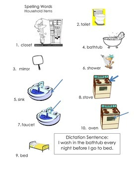 ell spelling picture vocabulary list HOUSEHOLD ITEMS