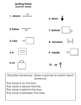 ell spelling picture vocabulary list LOCATION WORDS