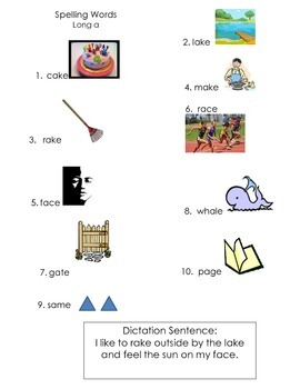 ell spelling picture vocabulary list LONG A