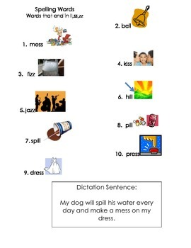 ell spelling picture vocabulary list LL,SS,ZZ