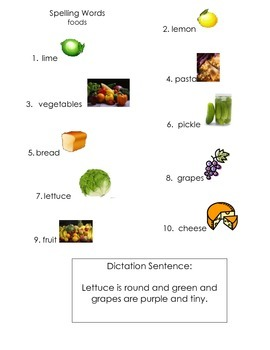 ell spelling picture vocabulary list foods 2