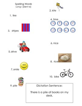 ell spelling picture vocabulary list long i silent e