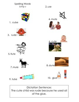 ell spelling picture vocabulary list long u silent e