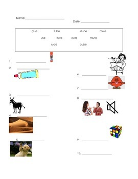 ell spelling picture vocabulary long u test