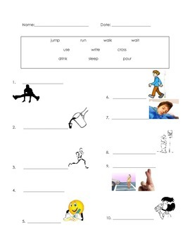 ell spelling picture vocabulary action verbs test