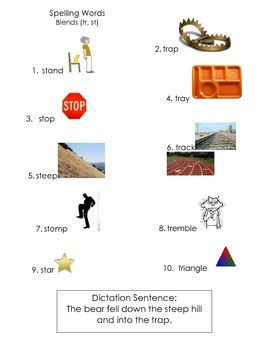 ell spelling picture vocabulary list TR and ST blends