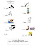 ell spelling picture vocabulary list action verbs