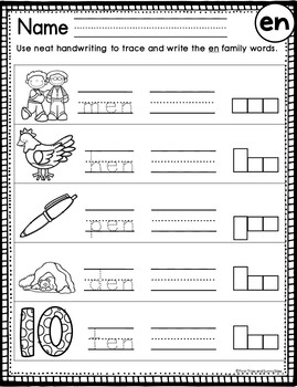 en Word Family Worksheets
