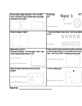 enVISION MATH topic 1 test grade one
