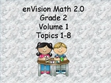 enVision 2.0 Grade 2 I can statements  (volume 1 Topics 1-8)
