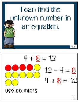 enVision 2.0 Math I can statements for Topic Five-First Grade
