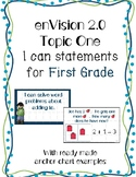 enVision 2.0  Math I can statements for Topic One-First Grade