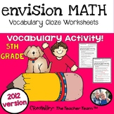 enVision Math 5th Grade Common Core 2012 CLOZE Worksheet Vocabulary Activities