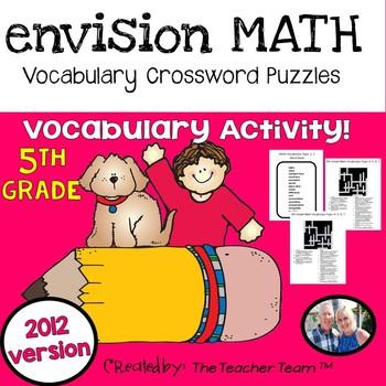 enVision Math 5th Grade Common Core 2012 Crossword Puzzles Topics 1-16