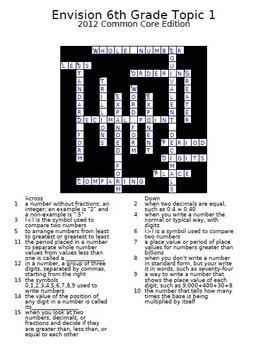 enVision Math 6th Grade Common Core 2012 Crossword Puzzles Topics 1-19