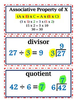 enVision Common Core Math Vocab Word Wall Cards Grade 5 Topic 3-4