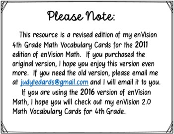 enVision Common Core Math Vocabulary Cards for 4th grade
