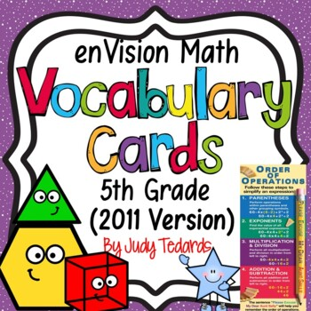 enVision Common Core Math Vocabulary Cards for 5th grade