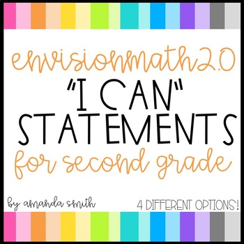 enVision Math 2.0 I Can Statements for Focus Walls 2nd Grade