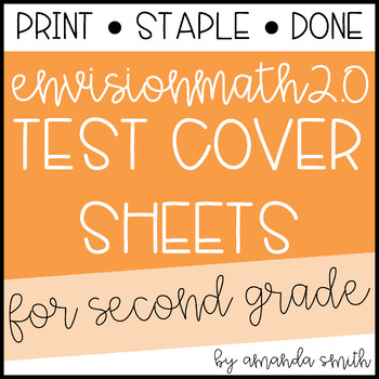 enVision Math 2.0 Test Assessment Cover Sheets 2nd Grade