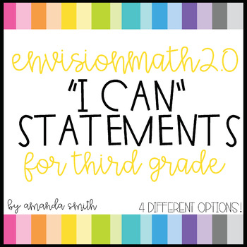 enVision Math 2.0 I Can Statements for Focus Walls 3rd Grade