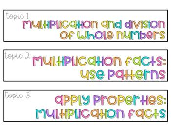 enVision Math 2.0 Sterilite Labels 3rd Grade