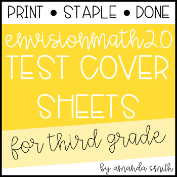 enVision Math 2.0 Test Assessment Cover Sheets 3rd Grade