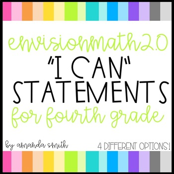 enVision Math 2.0 I Can Statements for Focus Walls 4th Grade