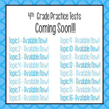 Envision Math 2 0 4th Grade Review Practice Tests Topic 1 16 GROWING BUNDLE