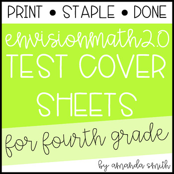 enVision Math 2.0 Test Assessment Cover Sheets 4th Grade