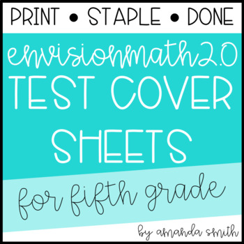 enVision Math 2.0 Test Assessment Cover Sheets 5th Grade