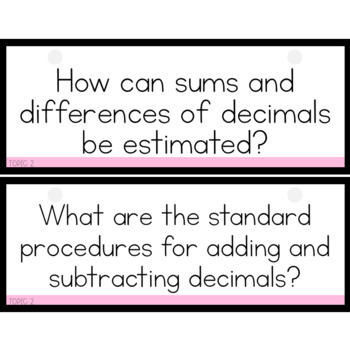 enVision Math 2.0 Essential Questions for Focus Walls 5th Grade