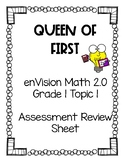enVision Math 2.0 Grade 1 Topic 1 Assessment Review Sheet