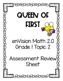 enVision Math 2.0 Grade 1 Topic 2 Assessment Review Sheet