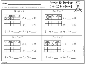 Grade 1 - Topic 4: Subtraction Facts to 20