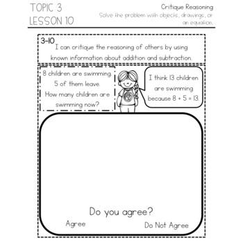 enVision Math 2.0 Interactive Math Journal 1st Grade Topic 3