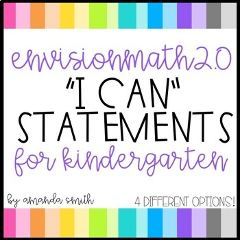 enVision Math 2.0 I Can Statements for Focus Walls * Kindergarten
