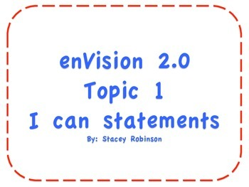 "enVision Math 2.0 Topic 1 ""I can"" statements Grade 1"