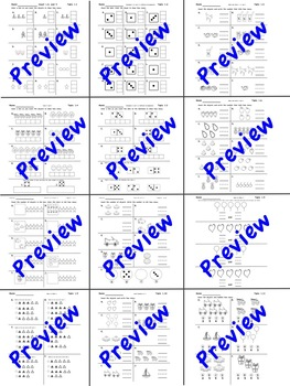 Kindergarten enVision Math 2.0 Topic 1  Practice Sheets