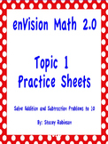 enVision Math 2.0 Topic 1 Practice Sheets Grade 1