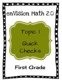 enVision Math 2.0 Topic 1 Quick Checks - 1st Grade