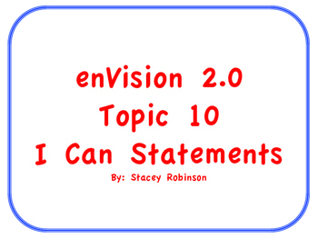 "enVision Math 2.0  Topic 10   Grade 1  ""I can"" statements"