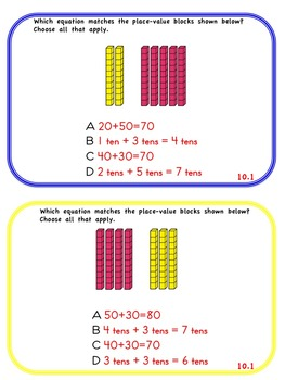 enVision Math 2.0  Topic 10   Grade 1  Task Cards