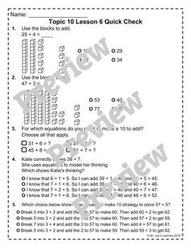enVision Math 2.0 Topic 10 Quick Checks - 1st Grade #betterthanchocolate