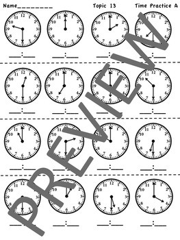 enVision Math 2.0  Topic 13 Telling Time   Grade 1  Practice Sheets