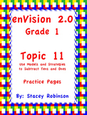 enVision Math 2.0  Topic 11   Grade 1  Practice Sheets