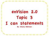 "enVision Math 2.0 Topic 3  ""I can"" statements Grade 1"