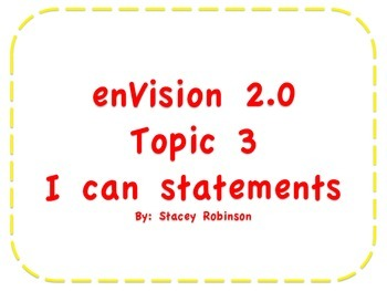 """enVision Math 2.0 Topic 3  """"I can"""" statements Grade 1"""